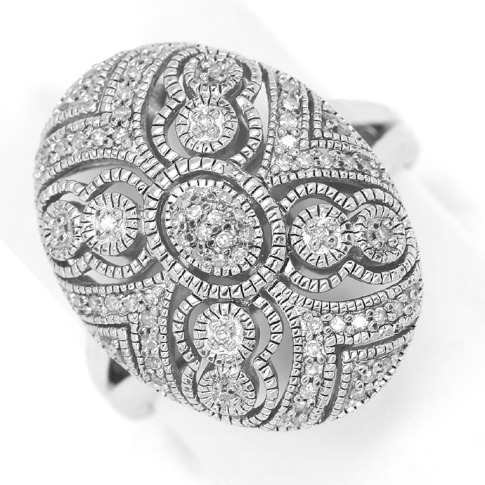 Foto 2, Schmuckset Ring und Kollier 140 Diamanten Perlen Silber, Q0710