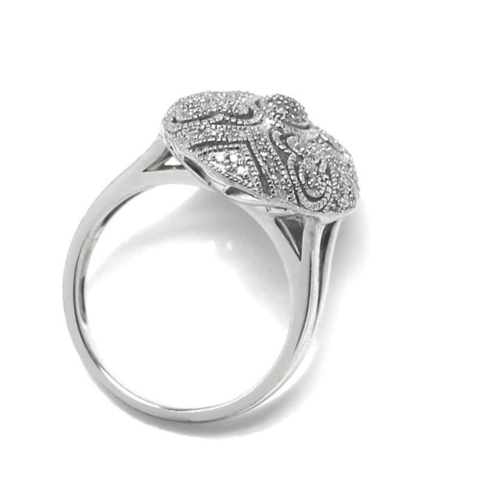 Foto 3, Schmuckset Ring und Kollier 140 Diamanten Perlen Silber, Q0710