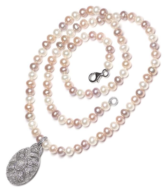 Foto 4, Schmuckset Ring und Kollier 140 Diamanten Perlen Silber, Q0710