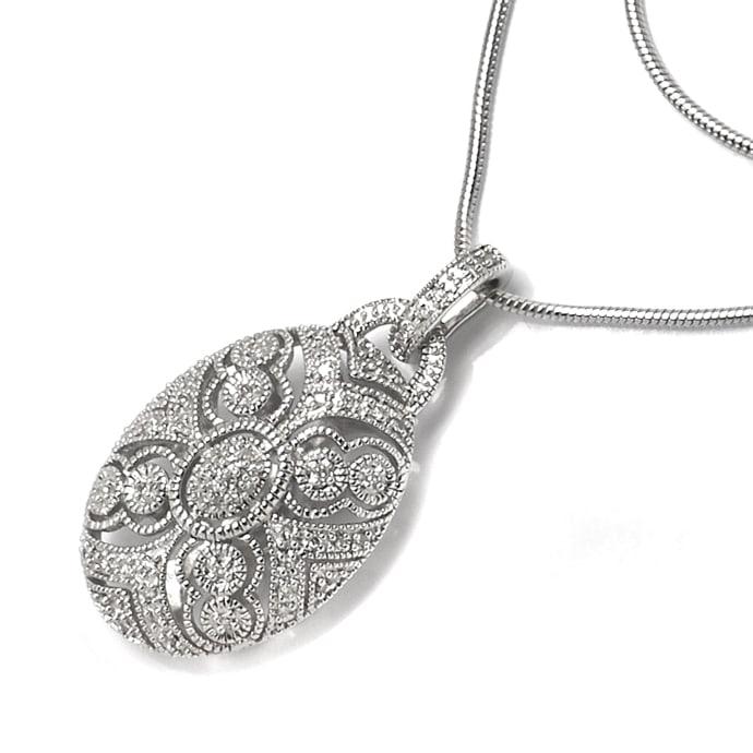 Foto 5, Schmuckset Ring und Kollier 140 Diamanten Perlen Silber, Q0710