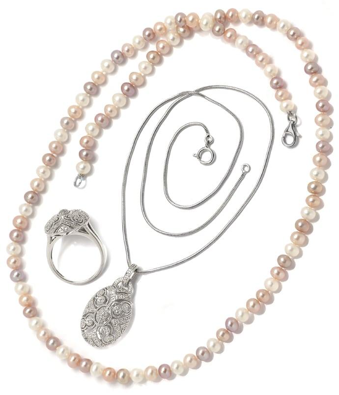 Foto 9, Schmuckset Ring und Kollier 140 Diamanten Perlen Silber, Q0710