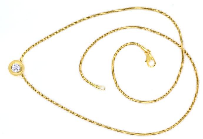 Foto 1, Diamantkollier mit 0,39ct Brillant Solitär 18K Gelbgold, Q0713