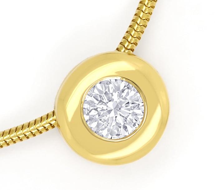 Foto 2, Diamantkollier mit 0,39ct Brillant Solitär 18K Gelbgold, Q0713