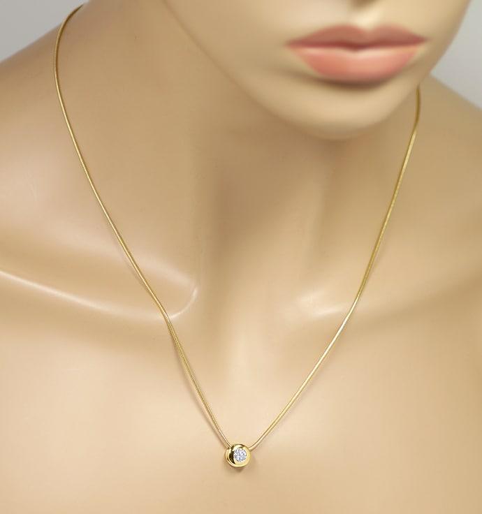 Foto 5, Diamantkollier mit 0,39ct Brillant Solitär 18K Gelbgold, Q0713