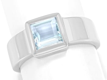 Foto 1 - Bandring eckig mit 1,05ct Aquamarin Carree in Weissgold, Q0785