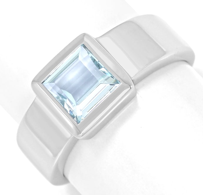 Foto 2 - Bandring eckig mit 1,05ct Aquamarin Carree in Weissgold, Q0785