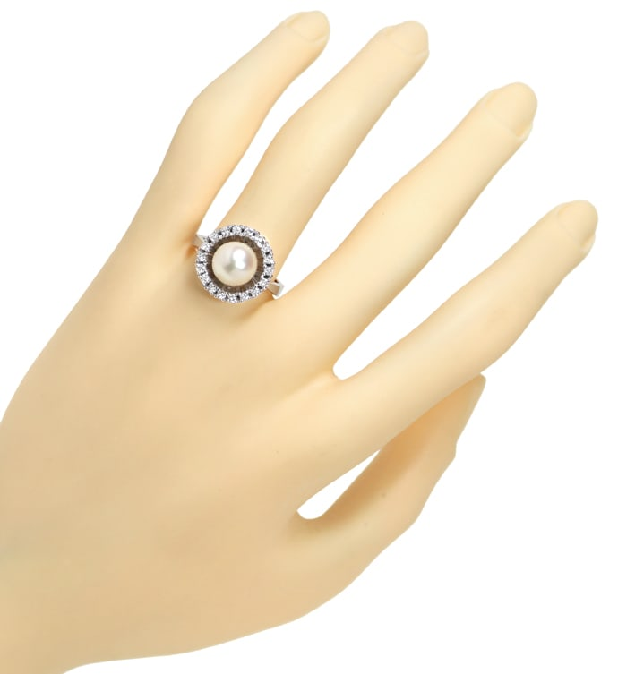 Foto 4, Ring 8,7mm Akoya Zuchtperle 0,40ct Brillanten Weissgold, Q0789