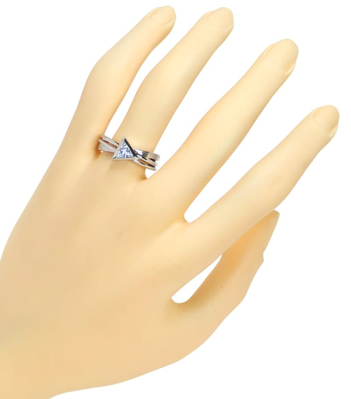 Foto 4 - Designer Ring mit 0,58ct Triangel Aquamarin in Weißgold, Q0795
