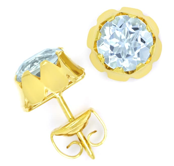 Foto 1 - Edle Ohrstecker mit 2,4ct Aquamarinen in 585er Gelbgold, Q0886