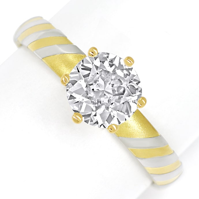 Designer Diamantring mit 1,33ct Diamant Solitaer in 18K, Designer Ring