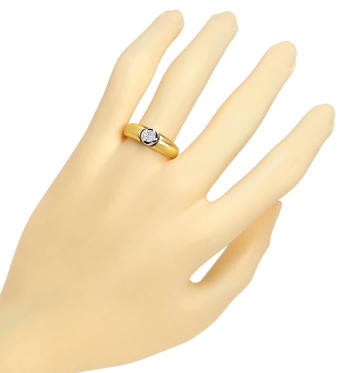 Foto 4 - Design Goldbandring lupenreiner 0,32ct Brillant Solitär, Q1254