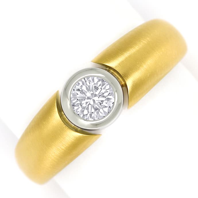 Design Goldbandring lupenreiner 0,32ct Brillant Solitär, Designer Ring
