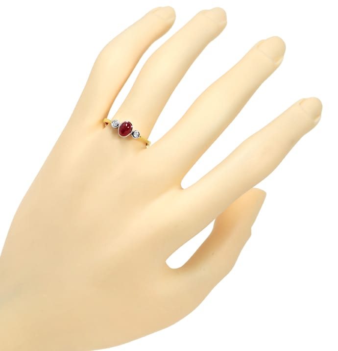 Foto 4 - Diamantring 0,70ct Rubin Cabochon und 0,08ct Brillanten, Q1304