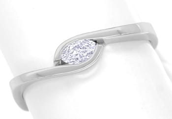 Foto 1, Diamantring mit 0,16ct Diamant Navette in 14K Weissgold, Q1316