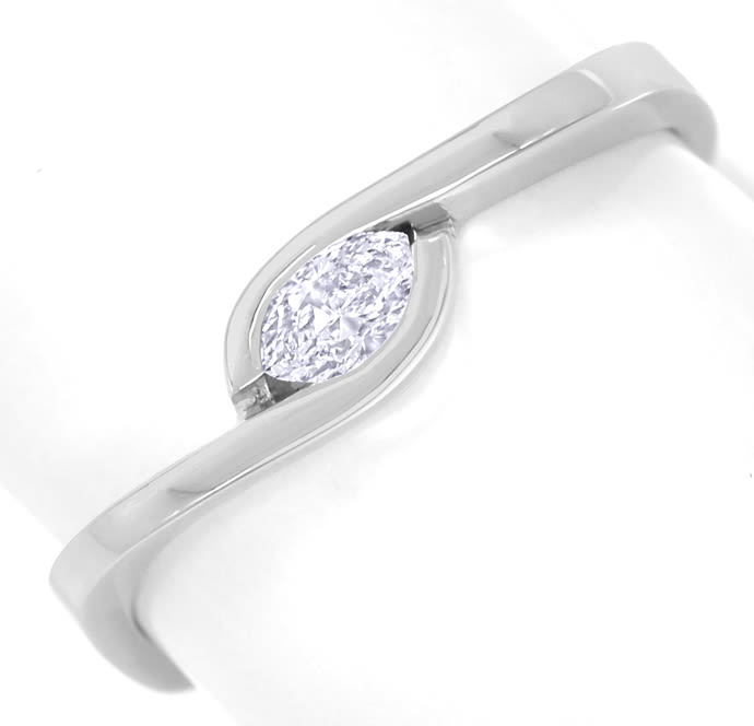 Foto 2, Diamantring mit 0,16ct Diamant Navette in 14K Weissgold, Q1316