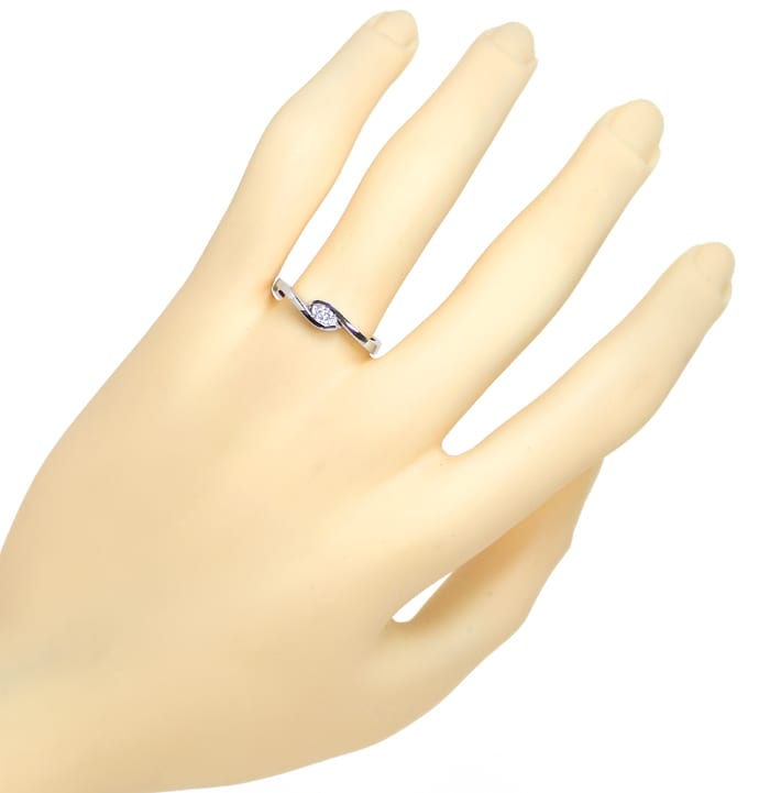 Foto 4, Diamantring mit 0,16ct Diamant Navette in 14K Weissgold, Q1316