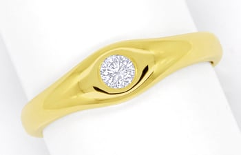 Foto 1, Diamantring mit 0,14ct Brillant Solitär in 14K Gelbgold, Q1358