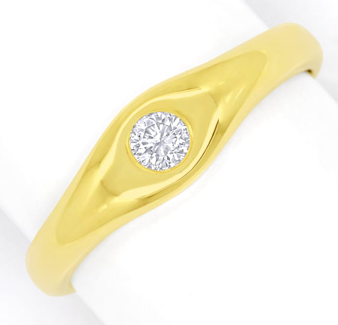 Foto 2, Diamantring mit 0,14ct Brillant Solitär in 14K Gelbgold, Q1358