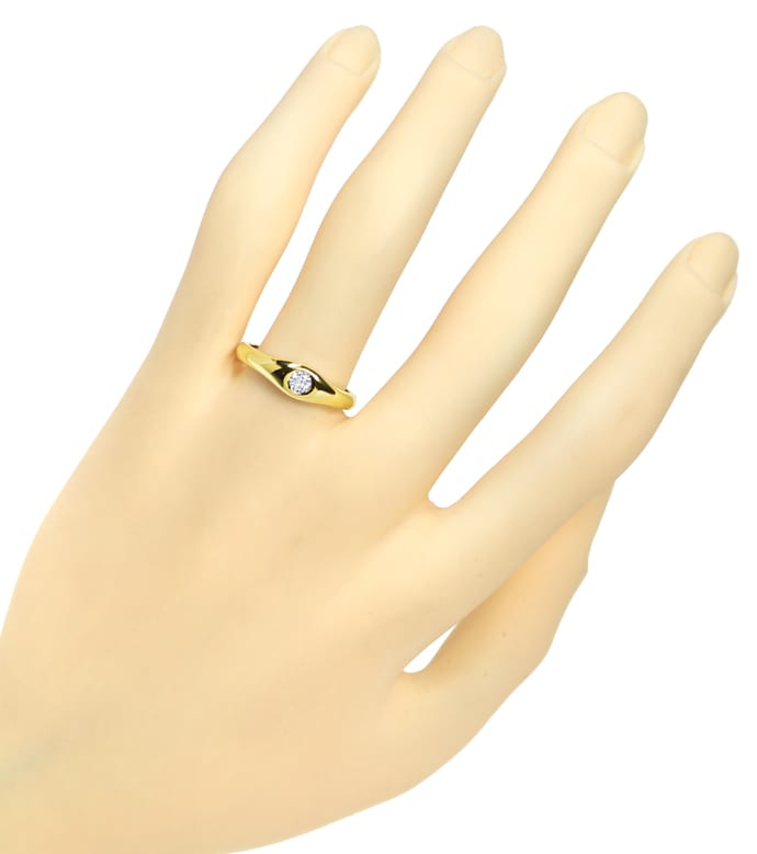 Foto 4, Diamantring mit 0,14ct Brillant Solitär in 14K Gelbgold, Q1358