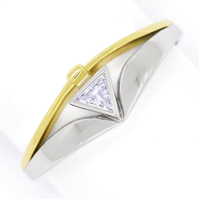 Diamant Triangel lupenrein Designer Diamantring Bicolor, Designer Ring