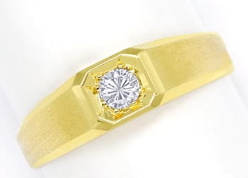 Foto 1, Diamantring mit 0,20ct Brillant Solitär in 14K Gelbgold, Q1361