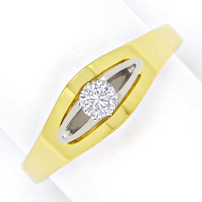 Damenring 0,19ct Solitär Brillant in Gelbgold Weissgold, Designer Ring
