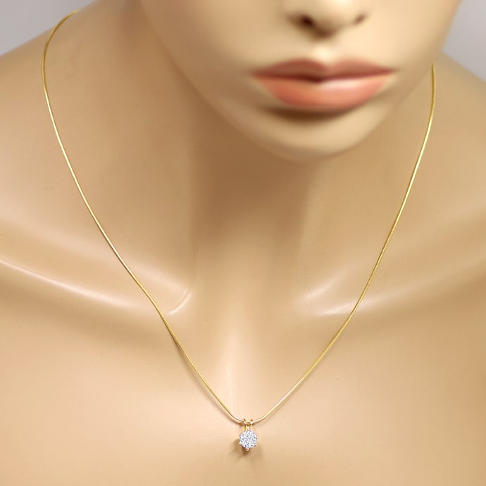 Foto 4 - Collier Brilliant 1,03ct River D Lupenrein GIA Gelbgold, Q1380