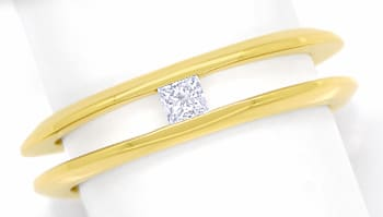 Foto 1, Diamantring mit 0,14ct Princess Diamant in 18K Gelbgold, Q1409