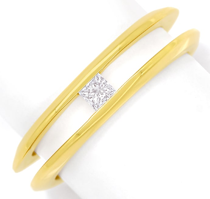 Foto 2, Diamantring mit 0,14ct Princess Diamant in 18K Gelbgold, Q1409