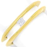 Diamantring mit 0,14ct Princess Diamant in 18K Gelbgold