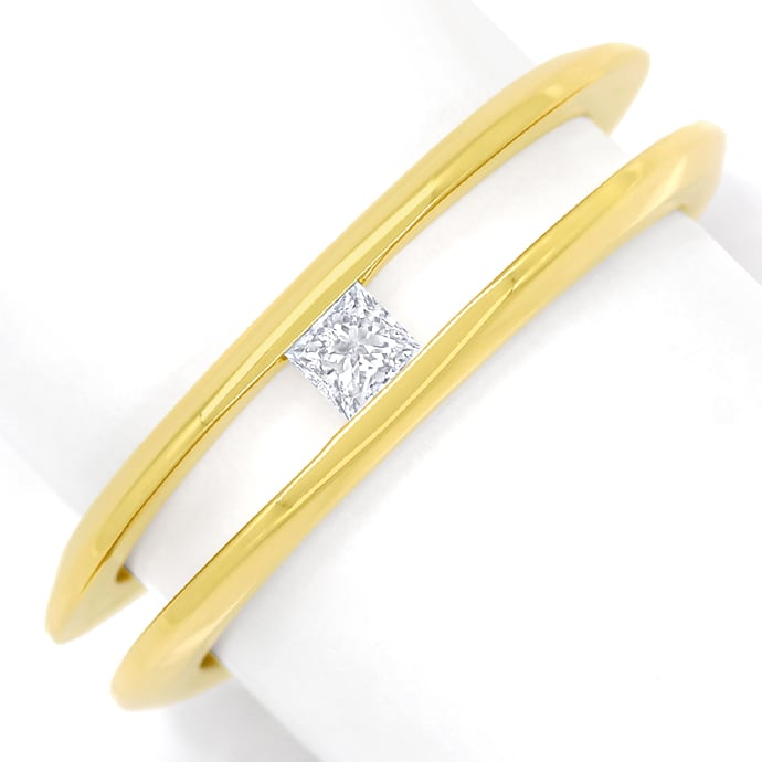 Diamantring mit 0,14ct Princess Diamant in 18K Gelbgold, Designer Ring