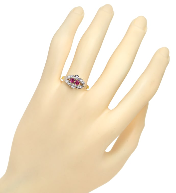 Foto 4, Diamantring 0,30ct Rubine und 0,11ct Diamanten 14K Gold, Q1417