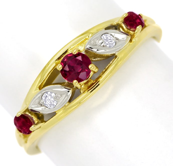 Foto 2, Diamantring 0,33ct Spitzen Rubine und Diamanten in Gold, Q1419