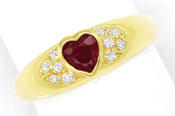 Foto 1 - Goldbandring 0,45ct Top Rubin Herz und 10 Diamanten 14K, Q1421