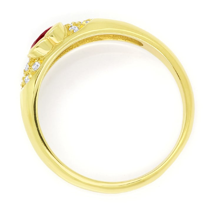 Foto 3, Goldbandring 0,45ct Top Rubin Herz und 10 Diamanten 14K, Q1421