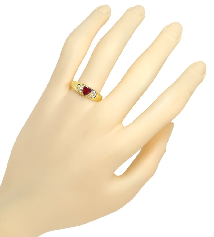 Foto 4, Goldbandring 0,45ct Top Rubin Herz und 10 Diamanten 14K, Q1421