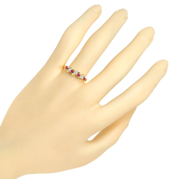 Foto 4, Diamantring 0,30ct Rubine und 0,12ct Diamanten Gelbgold, Q1425