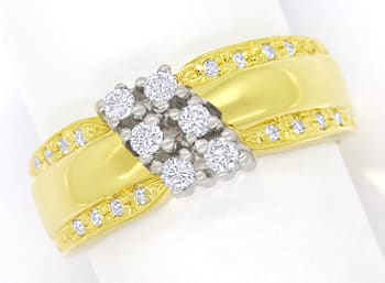 Foto 1 - Design Bandring mit Brillanten und Diamanten 585er Gold, Q1427