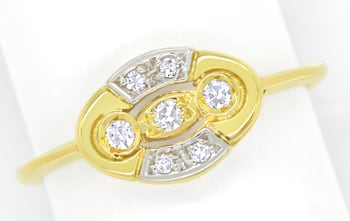 Foto 1, Femininer Diamantring mit 0,1ct Diamanten in 14K Gold, Q1435