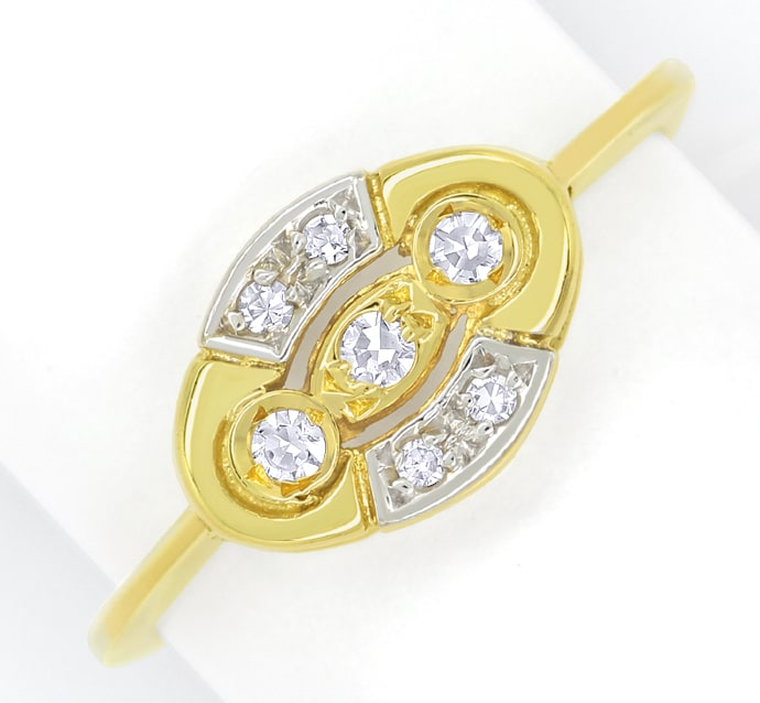 Foto 2, Femininer Diamantring mit 0,1ct Diamanten in 14K Gold, Q1435