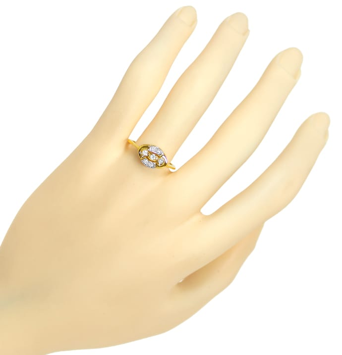 Foto 4, Femininer Diamantring mit 0,1ct Diamanten in 14K Gold, Q1435