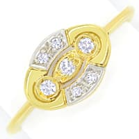 zum Artikel Femininer Diamantring mit 0,1ct Diamanten in 14K Gold, Q1435
