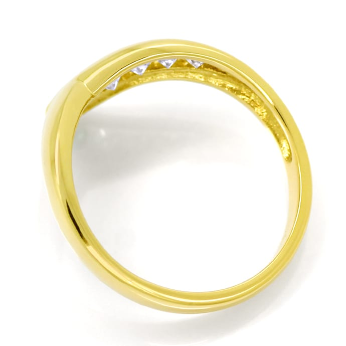 Foto 3, Designer Gold Diamantring 0,19ct Brillanten Top Smaragd, Q1443