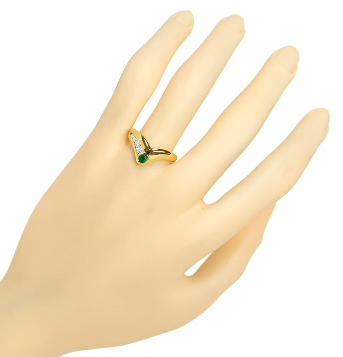 Foto 4, Designer Gold Diamantring 0,19ct Brillanten Top Smaragd, Q1443