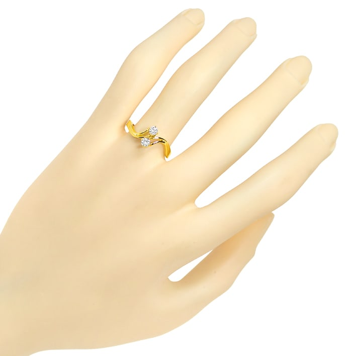 Foto 4 - Toi et Moi Diamantring 0,2ct Brillanten in 14K Gelbgold, Q1445
