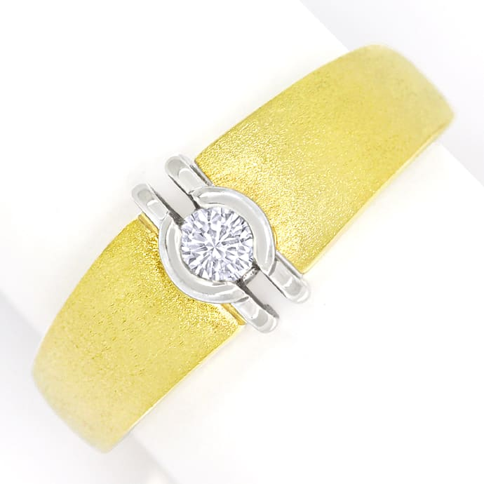 Design Diamantring mit lupenreinem Brillant Bicolor 14K, Designer Ring