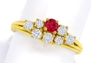 Foto 1 - Diamantring Top Rubin und 0,44ct Brillanten in Gelbgold, Q1451