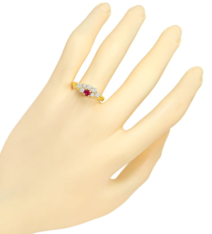 Foto 4, Diamantring Top Rubin und 0,44ct Brillanten in Gelbgold, Q1451