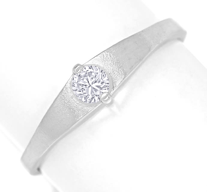 Foto 2, Design Diamantring 0,14ct Brillant 14K Weissgold, Q1453