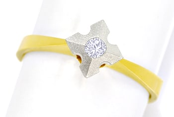 Foto 1 - Diamantring mit 0,10ct Brillant Solitär in Bicolor Gold, Q1460